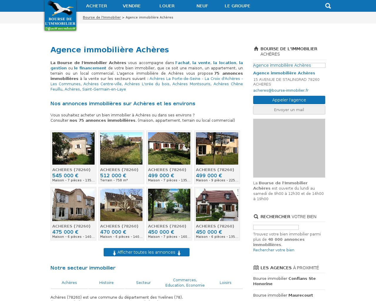 Agences immobili res sur la commune de ach re for Agence immobiliere 37