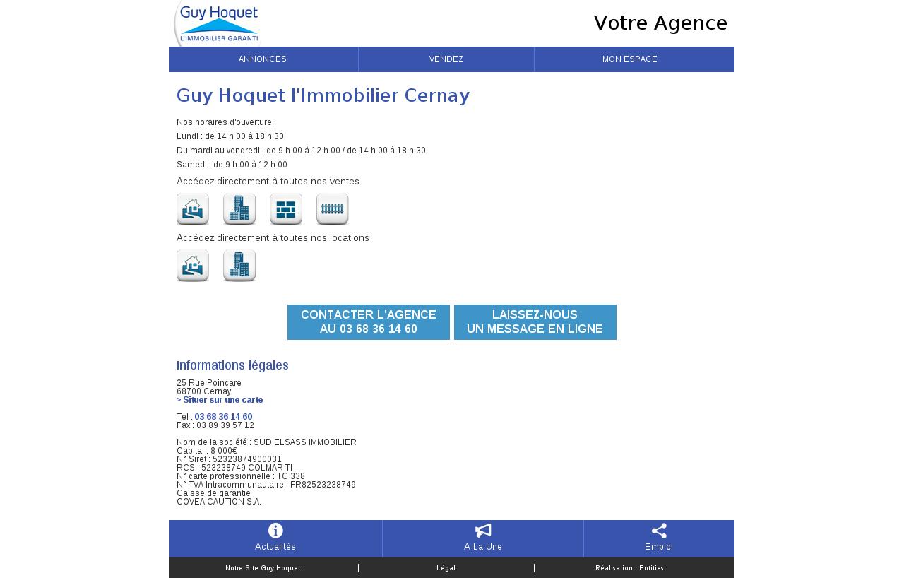 Agences immobili res sur la commune de cernay for Agence immobiliere guy hoquet
