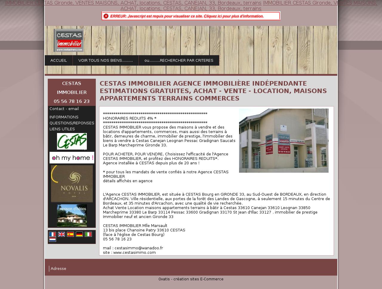 Agence clt immobilier cestas for Clt immobilier cestas