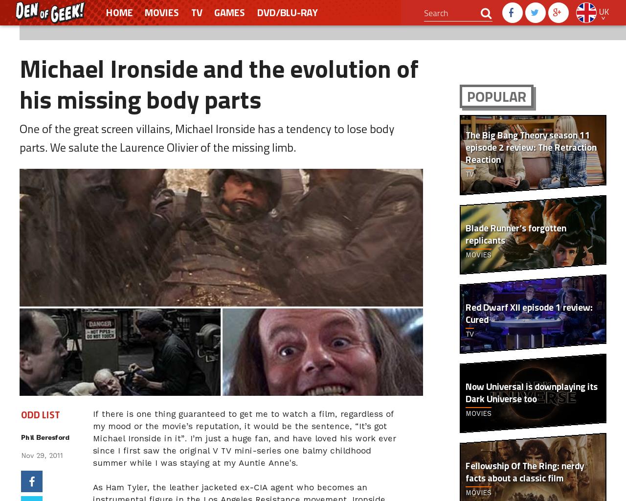 Michael ironside and the evolution of his missing body parts (Michael).  Voir. Dossier michael ironside et l art de perdre un bras ... 48d806ed32d