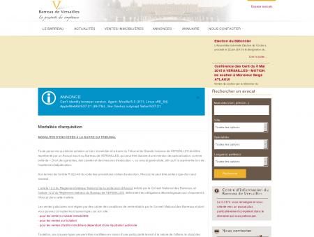 Modalités d'acquisition - Barreau de Versailles -...