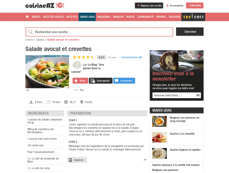 Salade avocat et crevettes | Cuisine AZ