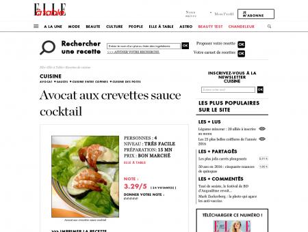 Avocat aux crevettes sauce cocktail pour 4...