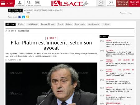 A la Une | Fifa: Platini est innocent, selon son...