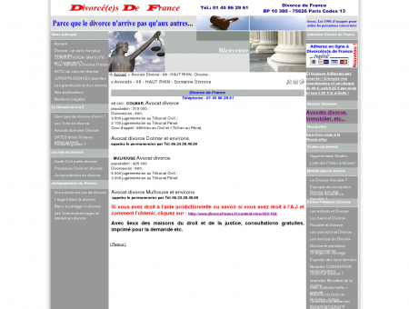 Avocats - 68 - HAUT RHIN - Domaine Divorce