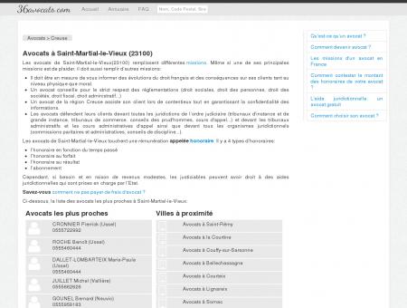 Avocats à Saint-Martial-le-Vieux (23100)
