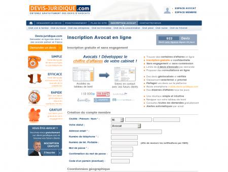 Inscription Avocat en ligne - Devis Juridique |...