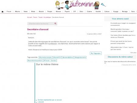 Secrétaire d'avocat : Forum Travail - Carrière -...