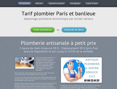 Tarif plombier Paris & Région Parisienne...