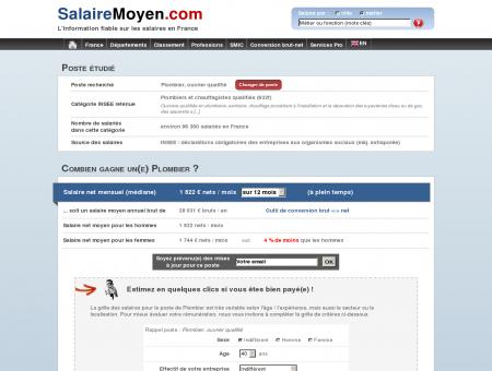 Salaire moyen Plombier - 1 822  net / mois...