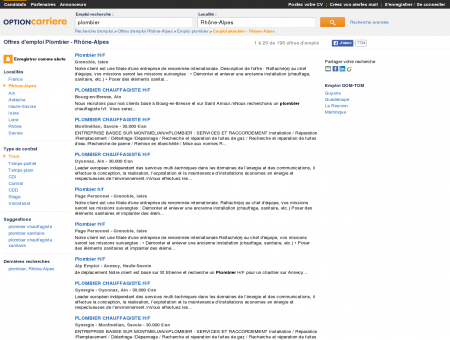 Offres d'emploi Plombier - Rhône-Alpes |...