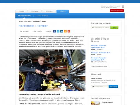 Fiche métier : Plombier - Offres d'emploi dans...
