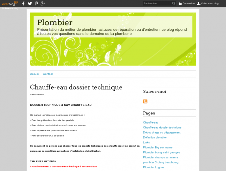 Chauffe-eau dossier technique - Plombier