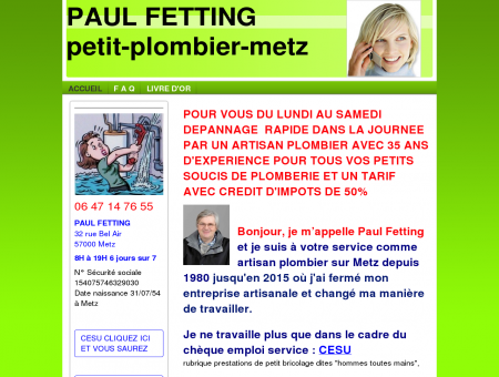 Petit artisan plombier à Metz Paul FETTING 06...