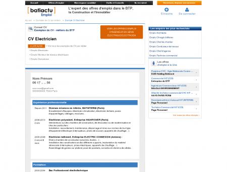 CV Electricien - Offres d emploi btp...