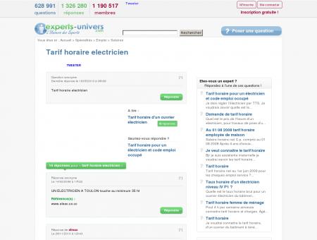 Tarif horaire electricien - Experts - L'Univers...