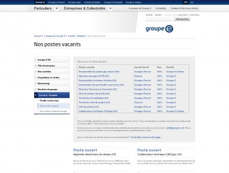 Nos postes vacants | Groupe E