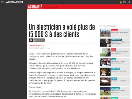 Un électricien a volé plus de 15 000 $ à des...