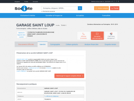 GARAGE SAINT LOUP (SAINT JEAN DE BRAYE)...