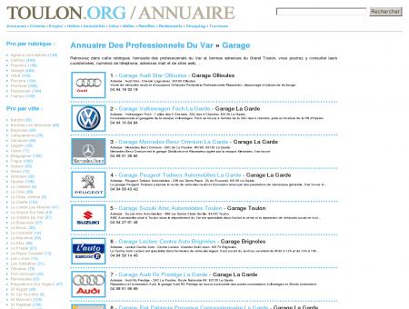 Annuaire garage Var sur Toulon .Org