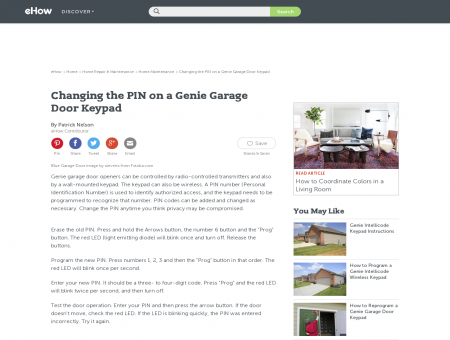 Changing the PIN on a Genie Garage Door Keypad | eHow