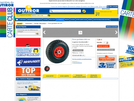 Outiror - Roue gonflable 255 mm - Garage /...