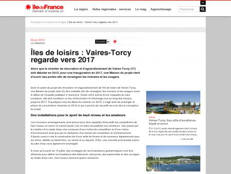 Îles de loisirs : Vaires-Torcy regarde vers 2017 ...