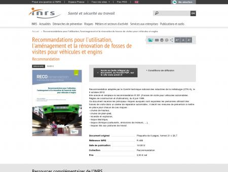 Recommandations pour l'utilisation,...