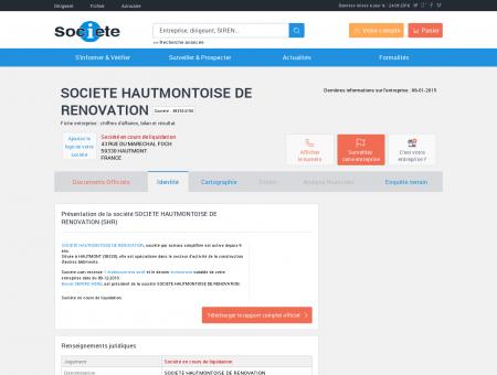 SOCIETE HAUTMONTOISE DE RENOVATION...
