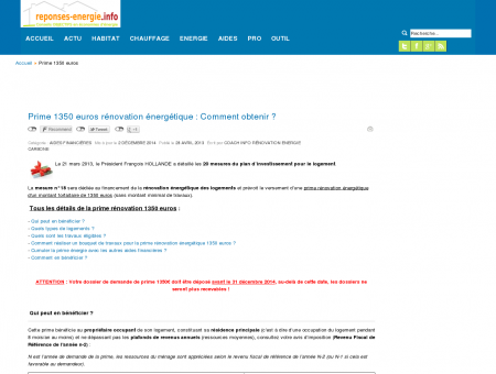 Prime 1350 euros rénovation énergétique :...