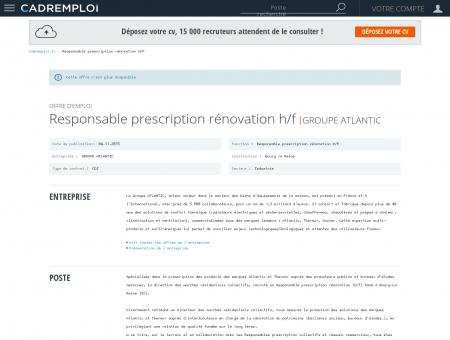 Emploi Responsable prescription rénovation...