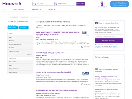 Emploi | Assurance | Ile-de-France | Monster.fr