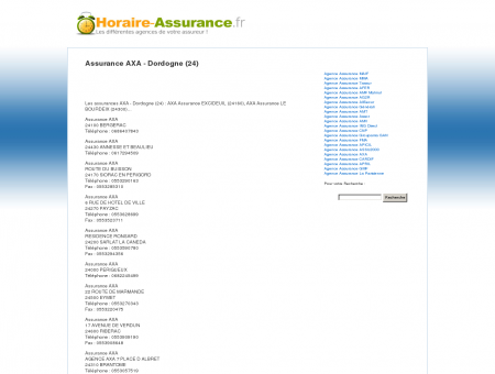 Assurance AXA - Dordogne (24) - Horaire des...
