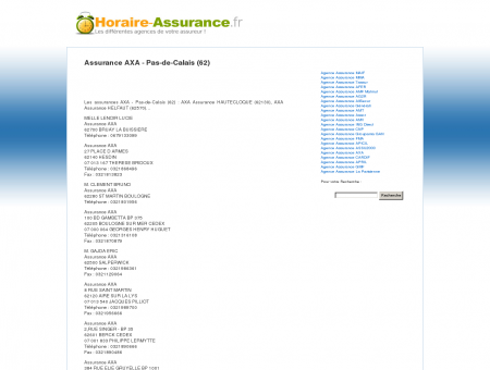Assurance AXA - Pas-de-Calais (62) - Horaire...