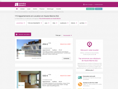 Location Appartement Haute-Marne   Louer...