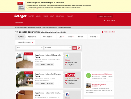 Location d'appartements Saint-Symphorien...