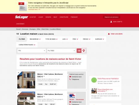 Location de maisons Saint-Victor (03410) |...
