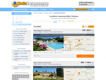 LOCATIONS VACANCES MONT VENTOUX