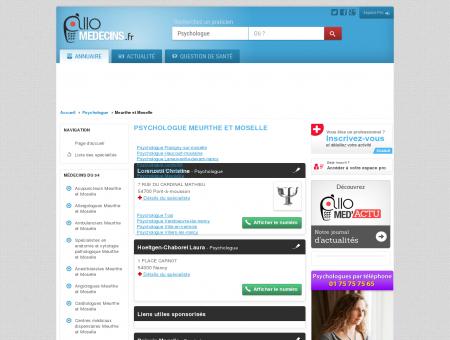 Psychologue Meurthe et Moselle - Médecin -...