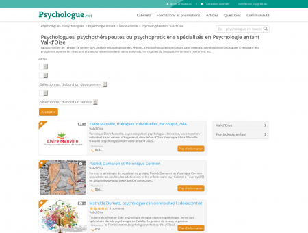 Psychologie enfant Val-d'Oise - Psychologue.net