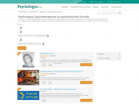 Psychologues Gironde - Psychologue.net