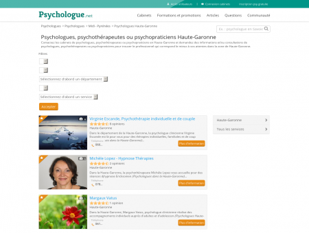 Psychologues Haute-Garonne - Psychologue.net