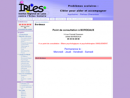 Bordeaux - Institut IRLES - Problèmes scolaires...