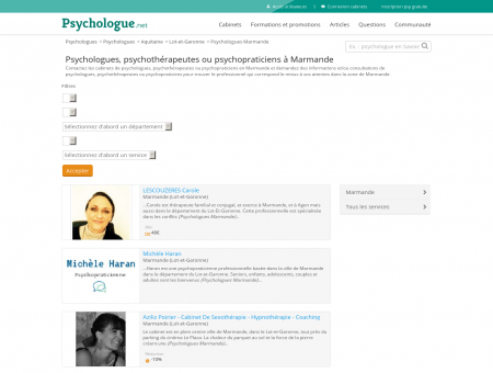 Psychologues Marmande - Psychologue.net