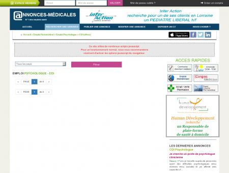EMPLOI Psychologue - CDI - Annonces...