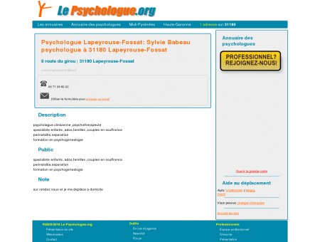 Psychologue Lapeyrouse-Fossat: Sylvie...