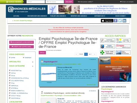 Emploi Psychologue Ile-de-france / Offre...