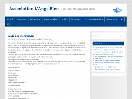 Liste des thérapeutes  Association L'Ange Bleu