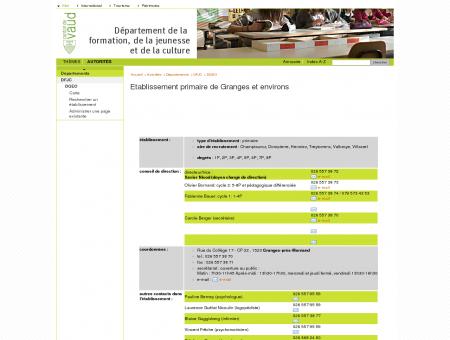 Etablissement primaire de Granges et environs ...