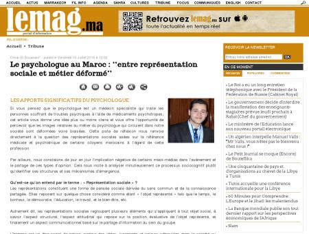 Le psychologue au Maroc : ''entre...